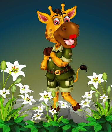 Funny Giraffe On The Top of Rock With White Ivy Flower Cartoon