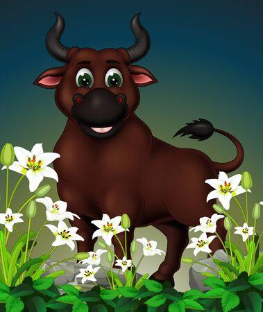 Toro marrón divertido en la cima de la roca con dibujos animados de flor de hiedra blanca