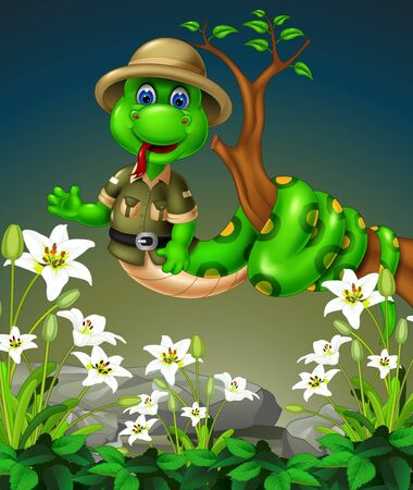 Funny Green Snake On Tree Branch With White Ivy Flower And Rocks Cartoon