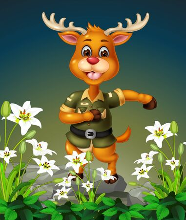 Funny Brown Deer On the Top of Rock With White Ivy Flower Cartoon Ilustracja