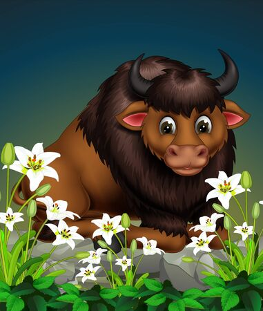 Funny Brown Buffalo Sitting On Rock With White Ivy Flower Cartoon Ilustracja