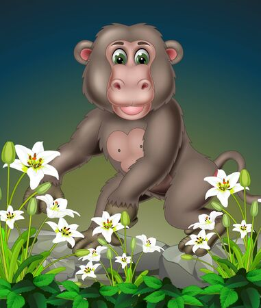Funny Grey Monkey On The Rock With White Ivy Flower Cartoon