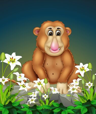Funny Brown Monkey On The Rock With White Ivy Flower Cartoon Ilustracja
