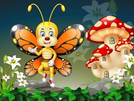 Cute Flying Orange Wings Butterfly With White Ivy Flower And Red Msuhroom House Cartoon