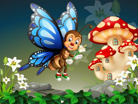Cute Flying Blue Butterfly With White Ivy Flower And Red Msuhroom House Cartoon