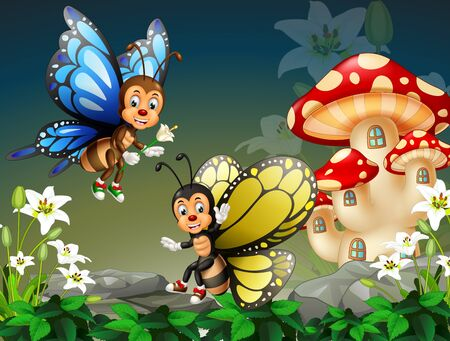 Funny Flying Blue And Yellow Butterfly With White Ivy Flower And Red Mushroom House Cartoon