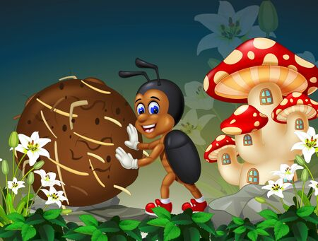 Funny Brown Dung Beetle With White Ivy Flower And Mushroom House Cartoon Ilustracja