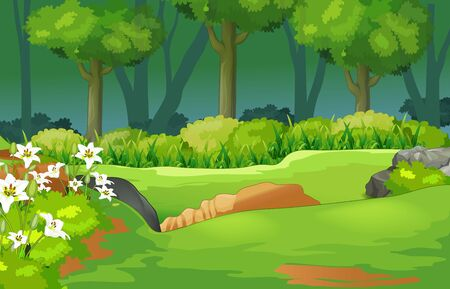 Cool Landscape Grass Hill View With Trees And Flower Cartoon