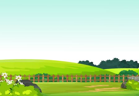 Beautiful Landscape View Grass Hill Field Yard With Trees And Flower Cartoon