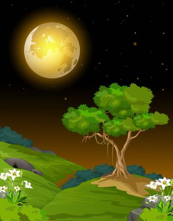 Cool Night Landscape View Of Grass Hill With Trees, Flower, And Moon Cartoon Ilustracja