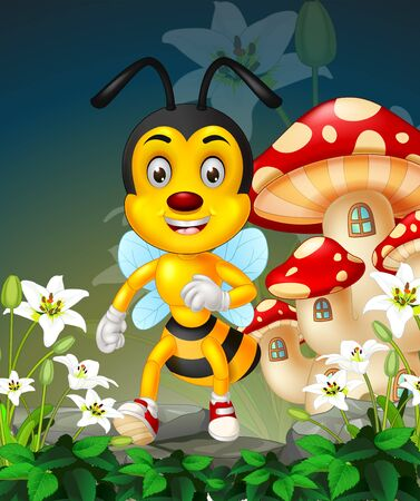 Funny Flying Yellow Bee With White Ivy Flower And Mushroom House Cartoon