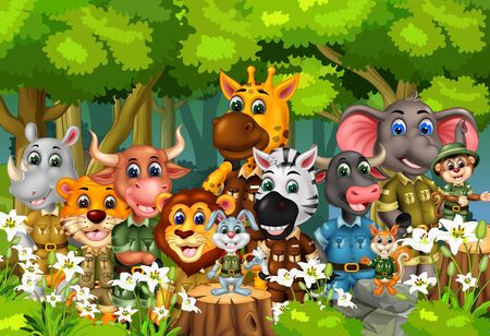 Animals Wildlife Set In Forest With Trees And White Ivy Flower Cartoon