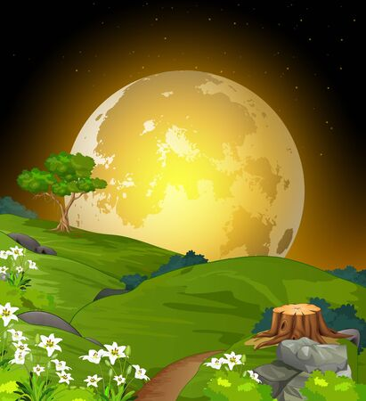 Landscape Night View With Huge Moonlight, Grass Hill Field, And Flower Cartoon