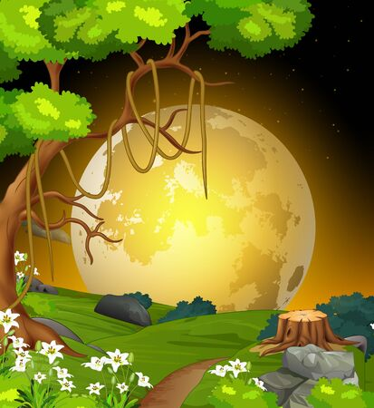 Cool Night Landscape Grass Hill View With Tree, Flower, And Moonlight Cartoon Ilustracja