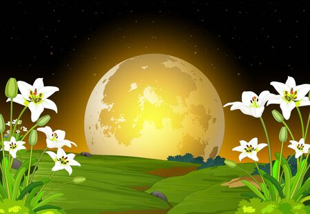 Beautiful Landscape Grass Hill  Night View With White Flower And Moonlight Cartoon Ilustracja