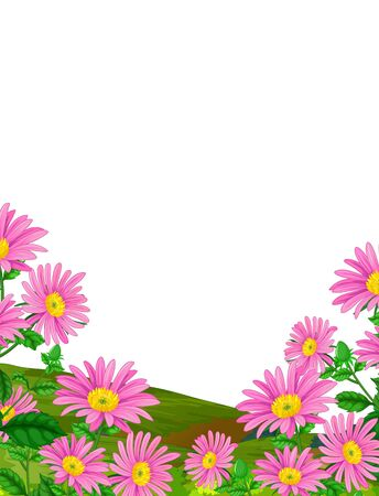 Pink Ivy Flower In Grass Field Hill Cartoon