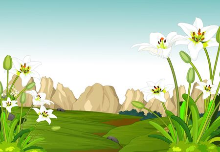 Cool Landscape Grass Hill View With Rocks Hill And White Ivy Flower Cartoon