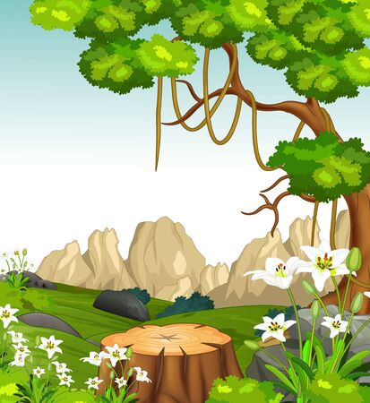 Cool Landscape View With Grass Hill, Trees, And Rocks Hill Cartoon Ilustracja