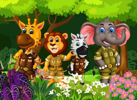 Wildlife Animals In The Forest With Trees And Ivy Flower Cartoon