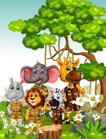 Funny Animals Wildlife In Grass Hill Field With Trees And White Ivy Flower Cartoon