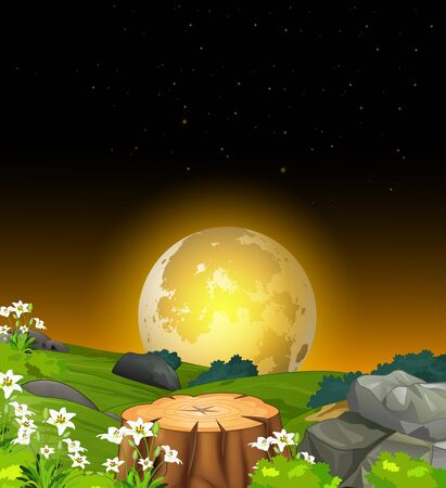 Beautiful Landscape Night View With Grass Hill, Rocks, Flower, And Moonlight Cartoon