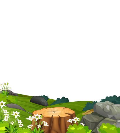 Cool Landscape Grass Hill View With Rocks, Wood, And Flower Cartoon