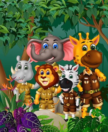 Cool Animals Wildlife In The Tropical Forest Cartoon