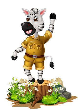 Funny White Zebra With Rock Adn White Ivy Flower Cartoon Stock Illustratie