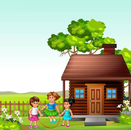 Three Girls Playing Jump Rope In Front of Wood House In Grass Field Hill Background Cartoon Stock fotó - 138078537