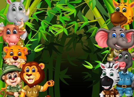 Wildlife Animals Set With Green Bamboo Tree Cartoon