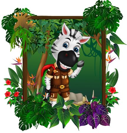 Funny Zebra with Red Green Backpack In Forest With Tropical Plant and Flower Cartoon