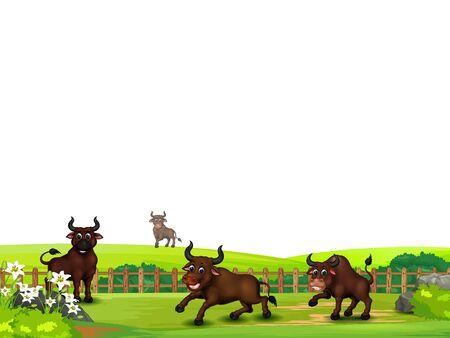Quattro tori marroni nell'erba del campo di cartone animato per il tuo design Vettoriali