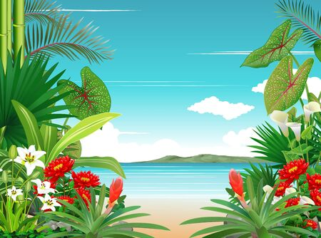 Beautiful Beach View With Tropical Plant And Ivy Flower Cartoon