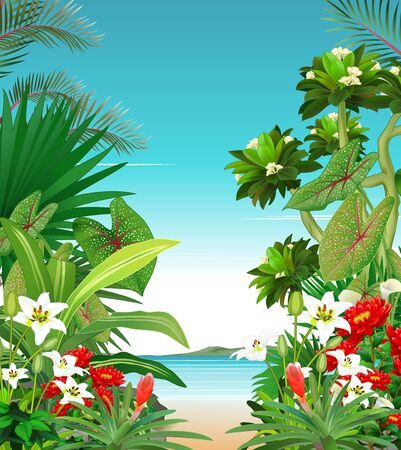 Cool Beach View With Tropical Plant and Ivy Flower Cartoon Illusztráció