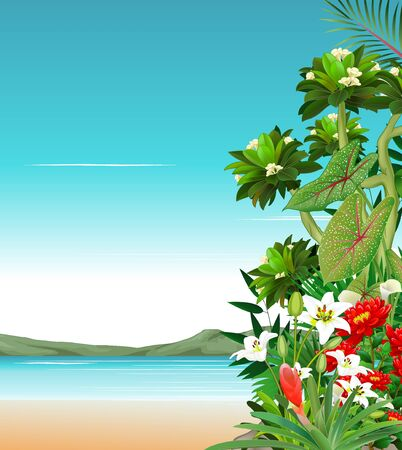 Beach View With Beautiful Tropical Plant and Ivy Flower Cartoon Illusztráció