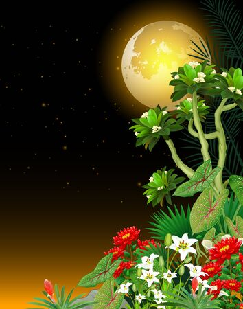 Tropical Plant and Ivy Flower With Beautiful Full Moon in Night View Cartoon
