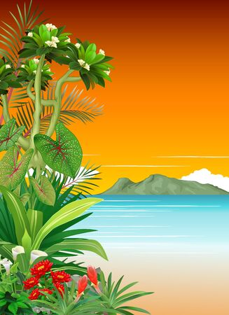 Beautiful Morning View In Beach With Tropical Plant Flower and Mountain Range Cartoon