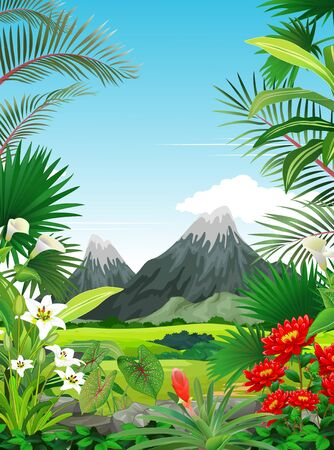 Cool Forest View With Grass Field, Tropical Plant, Ivy Flower, and Mountain Range Cartoon