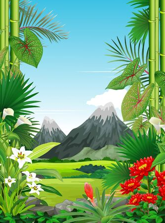 Grass Field View With Tropical Plant Flower and Mountain Range Cartoon