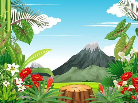Cool Tropical Forest View With Ivy Plant Flower and Mountain Cartoon Illusztráció