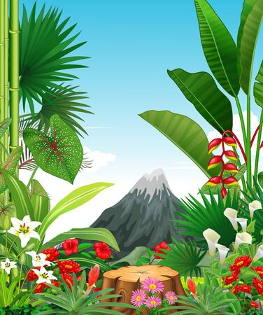 Tropical Forest View With Ivy Plant Flower and Mountain Cartoon Illusztráció