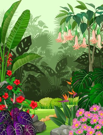 Forest View With Grass Field And Ivy Plant Flower Cartoon