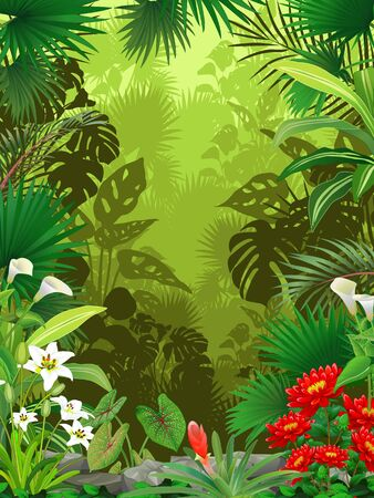 Forest View With Tropical Plant and Flower Cartoon Standard-Bild - 138805616