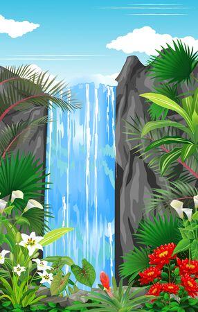 Schöner Wasserfall im Wald mit tropischer Pflanzen- und Blumenkarikatur
