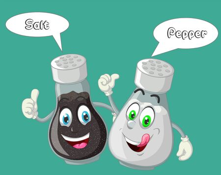 Funny Black Pepper and White Salt On The Bottle Cartoon