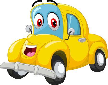 Dibujos animados de coche amarillo divertido Ilustración de vector