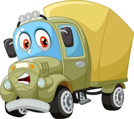 Divertidos dibujos animados de camión grande marrón