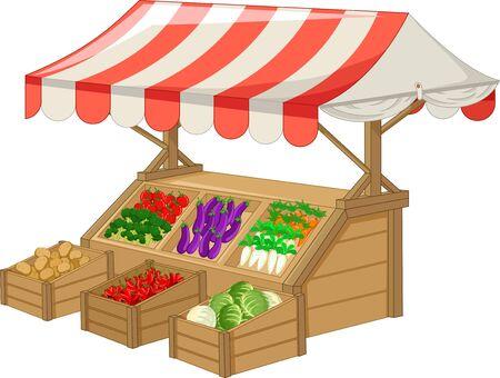 Brown Wood Food Fruit And Vegetable Stall Cartoon