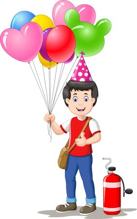 Colorful Balloons Seller Boy Cartoon