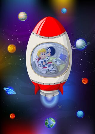 Cool Red White Rocket In Galaxy Space With Planets Cartoon Vektorové ilustrace